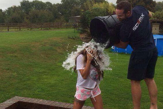 Katie Price lets Kieran Hayler soak her in the Ice Bucket Challenge