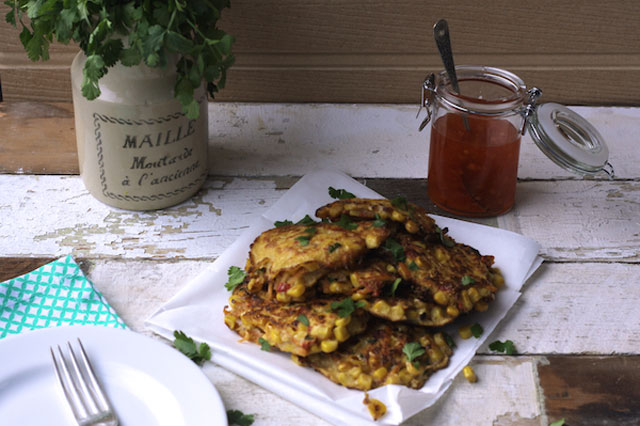 Sweetcorn, carrot and coriander fritter recipe