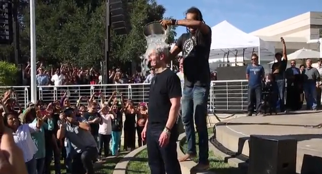 Tim Cook accepts the ALS Association Ice Bucket Challenge