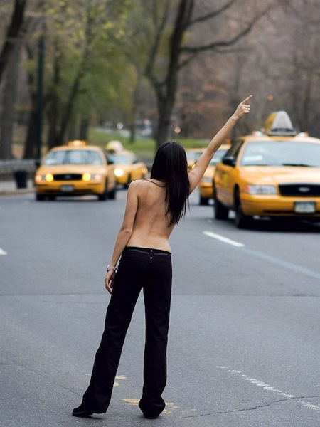 way too comfortable, topless girl hailing taxi, no fucks given