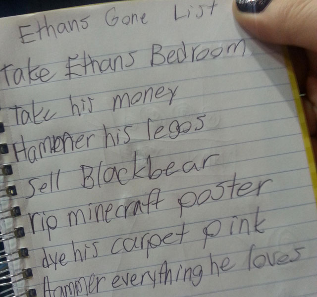 Little girl's sinister list about her brother will scare you