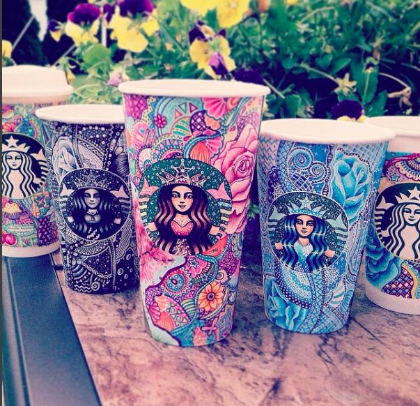 artist creates colorful starbucks coffee cups