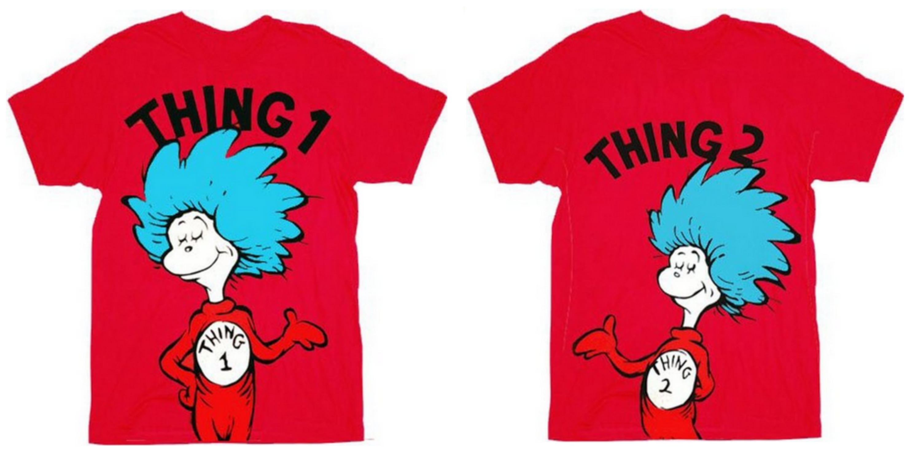 Dr. Seuss Thing 1 or Thing 2 Adult Red T-shirt
