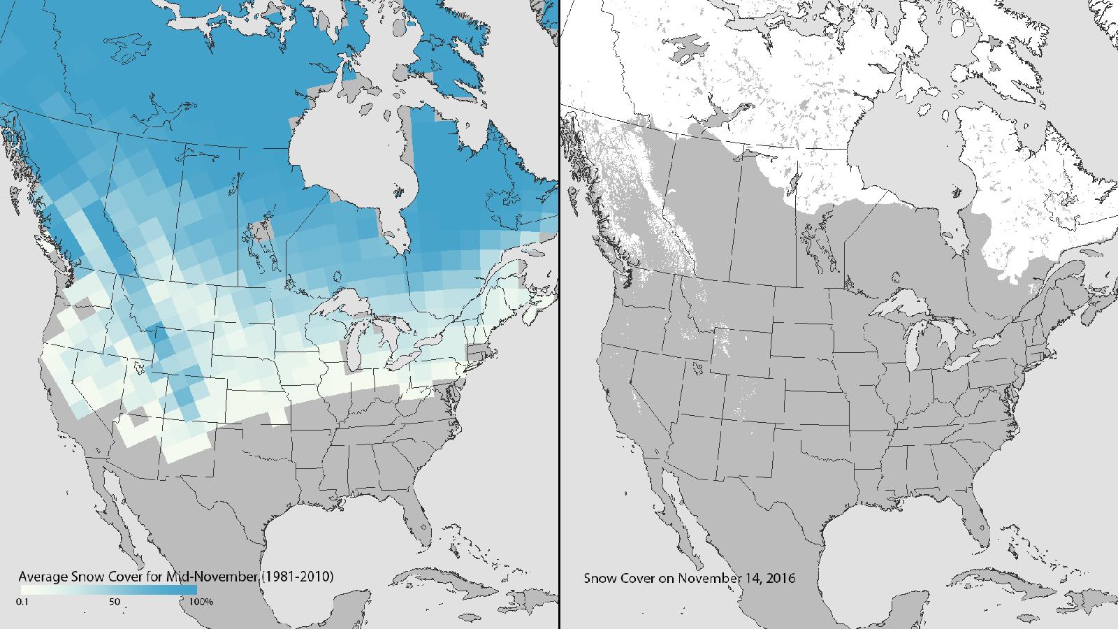 November snow cover in the US, 1981-2010 average vs. 2016