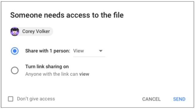 Access checker prompt in Google Drive