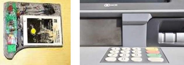 The spy camera for an ATM skimmer, hidden behind a facade