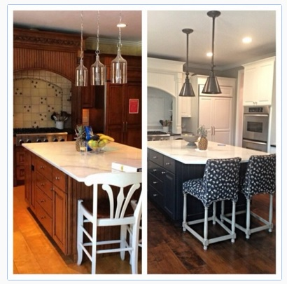 before and after photos of kitchen with painted cabinetry