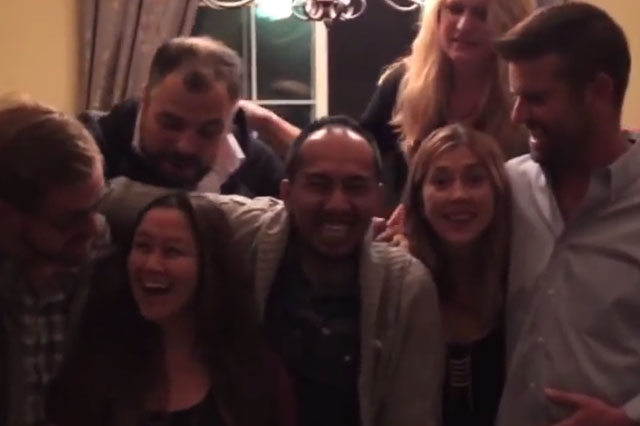 Pregnancy photo announcement: Parents-to-be capture family and friends' reaction to baby news