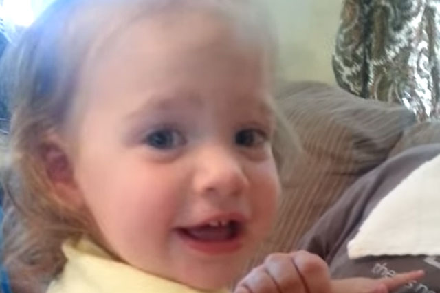 Bearded dad's peek-a-boo surprise for shocked daughter (video)