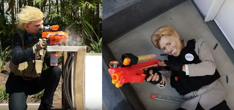 ヒラリーとトランプが容赦なく互いを撃ちまくる! 選挙を銃撃戦に例えたシュールな動画が話題に