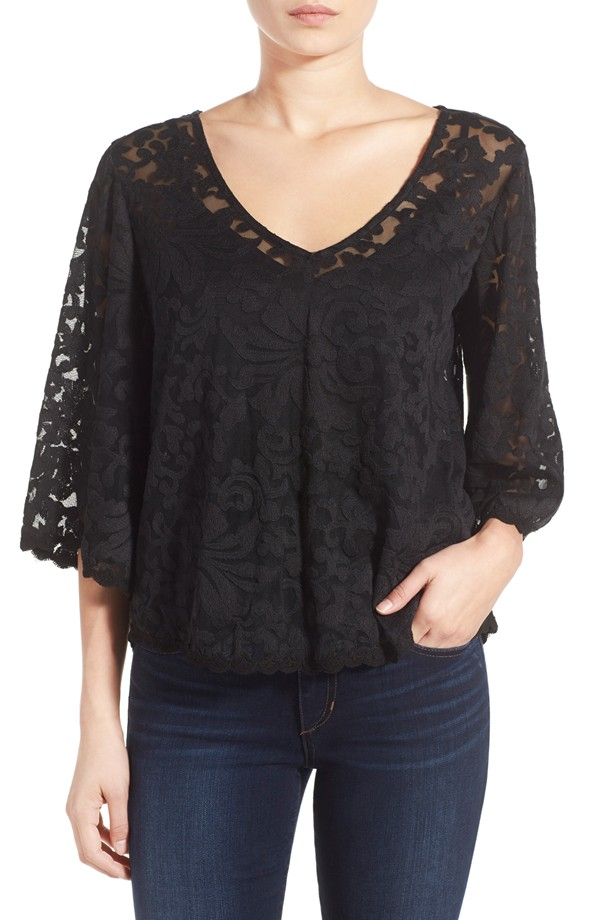 Marysol Lace Bell Sleeve Top by Ella Moss