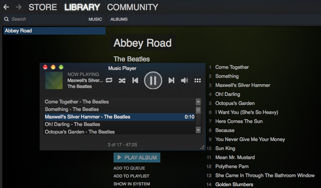 how to open steam music player