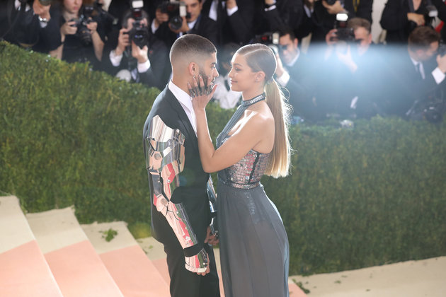 "NEW YORK, NY - MAY 02:  Gigi Hadid and Zayn Malik attend the ""Manus x Machina: Fashion In An Age Of Technology"" Costume Institute Gala at Metropolitan Museum of Art on May 2, 2016 in New York City.  (Photo by Neilson Barnard/Getty Images for The Huffington Post)"