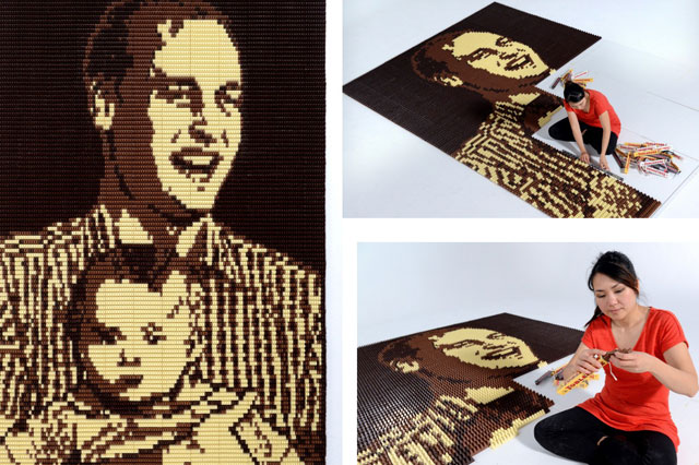 Prince William and Prince George chocolate portrait for Father's Day