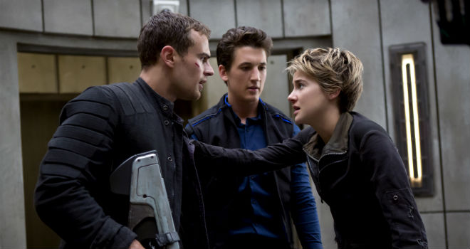 theo james, shailene woodley, and miles teller in insurgent