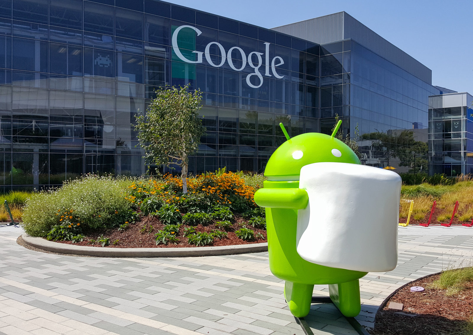 Mountain View, CA, USA - August 19, 2015: Android Marshmallow (latest android OS) replica in front of Google office on Aug 19, 2015. Google specializes in Internet related services and products.
