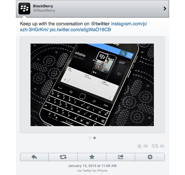 BlackBerry 'pillada' twitteando desde un iPhone