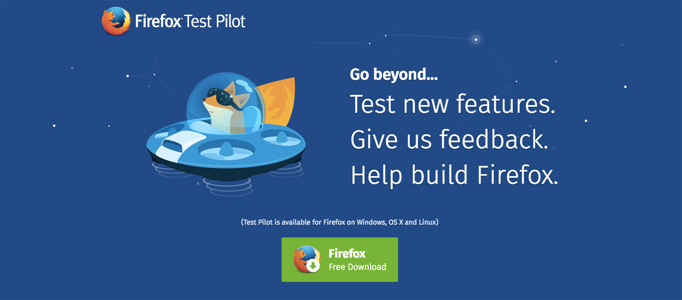Firefox users can try experimental features with Test Pilot