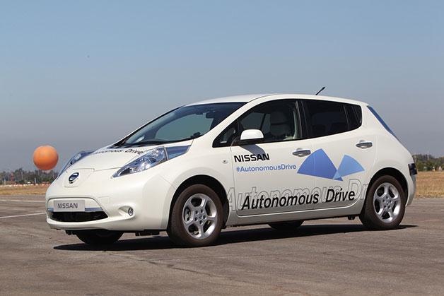Nissan Leaf autonomous car, front three-quarter view.