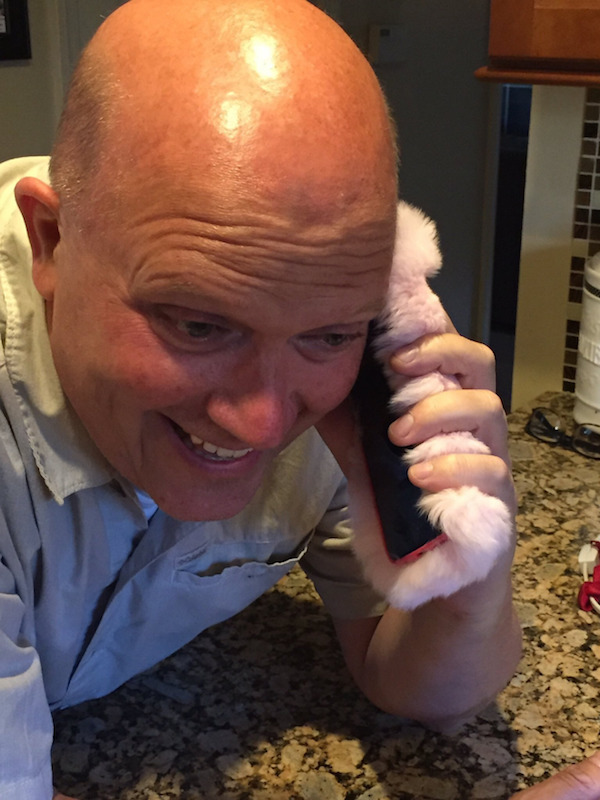 Dad With Pink Fluffy Phone Case Is Way Happier Than You'll Ever Be