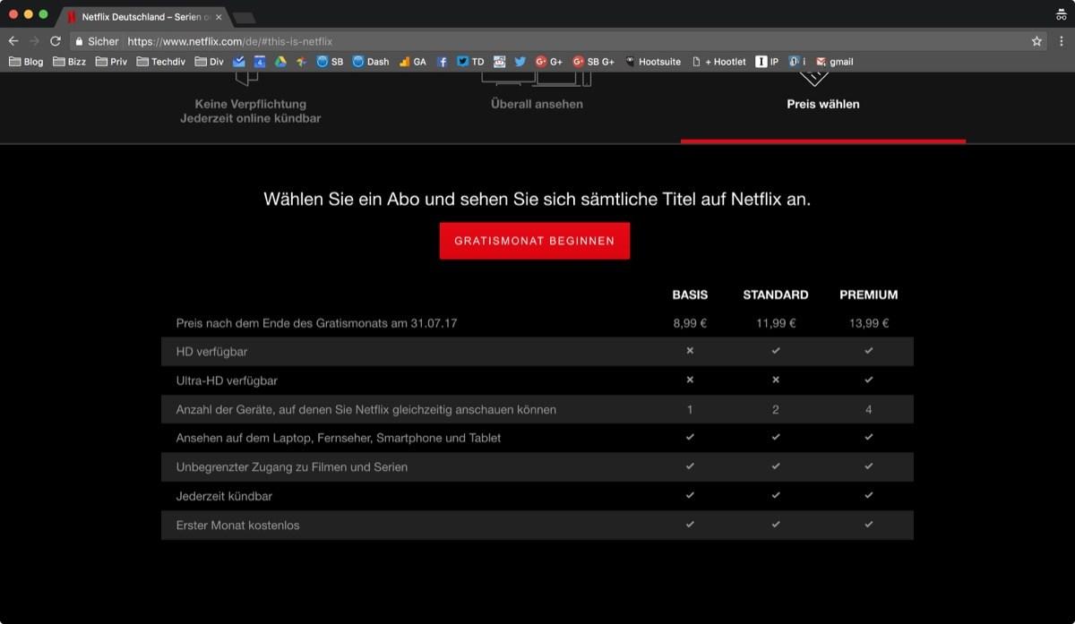 Tarifas subidas Netflix 2017