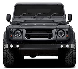 The Kahn Design Flying Huntsman 110 WB 6x6 Concept, a three-axle Land Rover Defender, to be shown at the 2015 Geneva Motor Show.