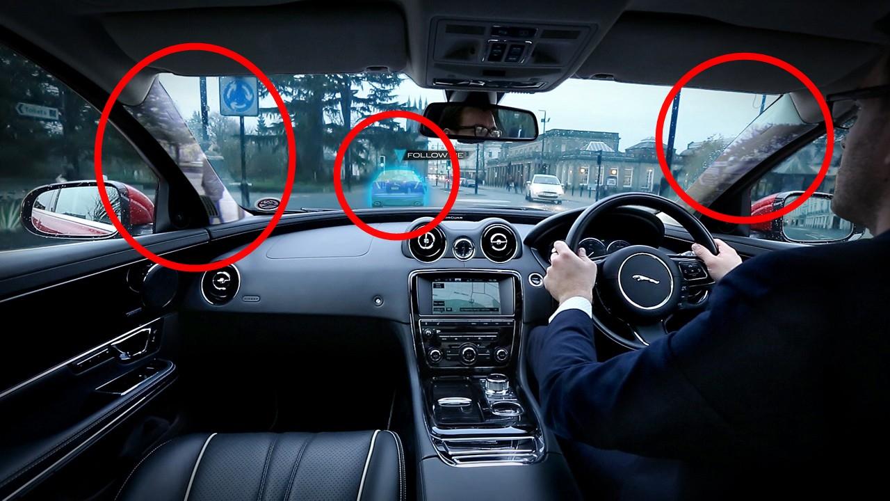 Jaguar, Landrover, Follow-Me Ghost Car Navigation, 360 Virtual Urban Windscree, Video, Fahrassistent, rundumblick, toter winkel, Head up Display, Head-up display, HUD,