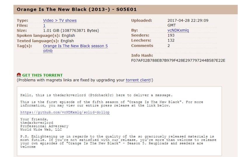 Torrent posted for stolen 'Orange is the New Black' premiere episode