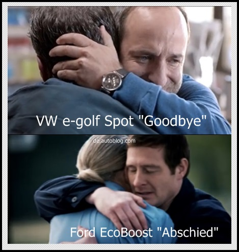 Autowerbung, car ad, TV spot, Lustig, witzig, komisch, VW, Volkswagen, e-golf, Ford eco boost, kopiert, abschied, TV-Werbung