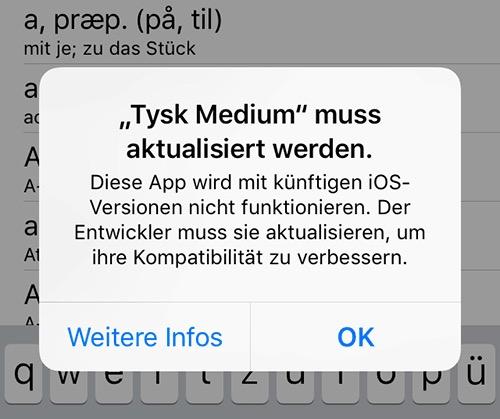 Neue Warnmeldung für alte Apps in iOS 11
