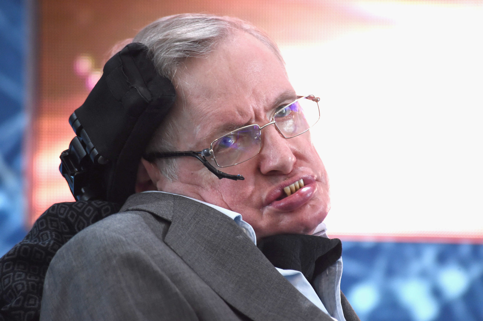 "NEW YORK, NEW YORK - APRIL 12:  Cosmologist Stephen Hawking attends the New Space Exploration Initiative ""Breakthrough Starshot"" Announcement at One World Observatory on April 12, 2016 in New York City.  (Photo by Gary Gershoff/WireImage)"