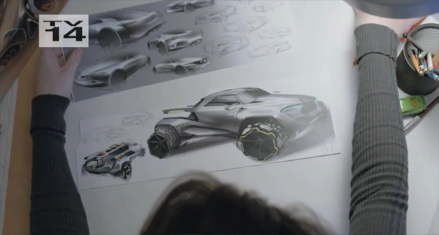 Screencap from the trailer for Motor City Masters, the reality show competition about car designers
