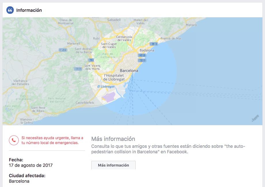 Facebook activa su Safety Check tras el atentado de Barcelona