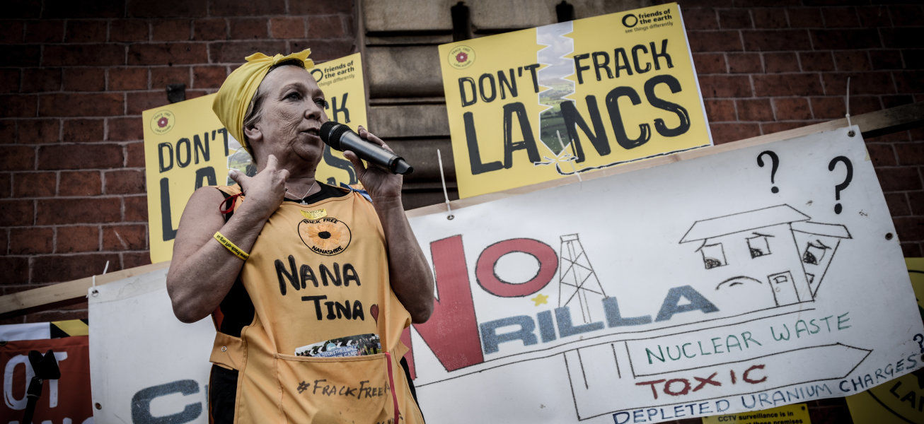 Tina Rothery, an anti-facking activist based in the Fylde area of Lancashire, speaking, on Tuesday 23rd June 2015, outside Lancashire County Hall in Preston where Lancashire County Council whether to give the shale gas firm, Cuardrilla, a liscense for fracking. -- People have gathered in Preston to demonstrate outside Lancashire County Hall against the possibility of fracking in the Fylde area of Lancashire. According to the activist website, the decision by Lancashire County Council, 'is likely to be the beginning of a long battle which has implications for the whole country.' (Photo by Jonathan Nicholson/NurPhoto) (Photo by NurPhoto/NurPhoto via Getty Images)