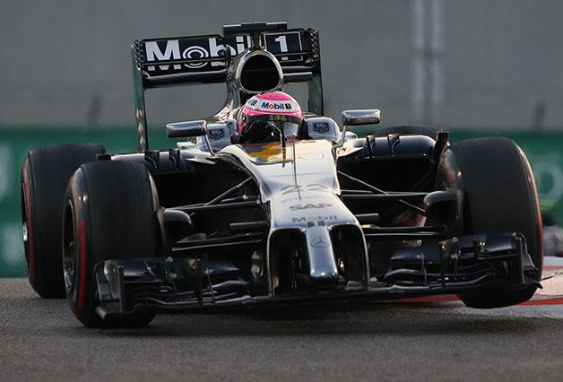 Jenson Button drives during the 2014 Abu Dhabi F1 Grand Prix.