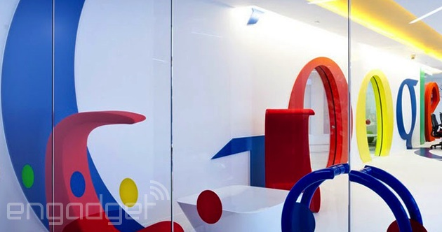 Google's logo dominates an office