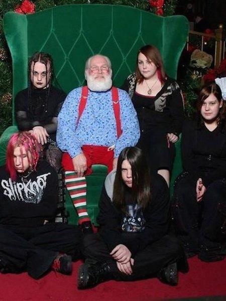 funny christmas cards, funny christmas photos, goth christmas