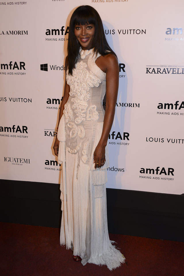SAO PAULO, BRAZIL - APRIL 04: Naomi Campbell attends amfAR's Inspiration Gala Sao Paulo on April 4, 2014 in Sao Paulo, Brazil.  (Photo by Fernanda Calfat/Getty Images For amfAR)