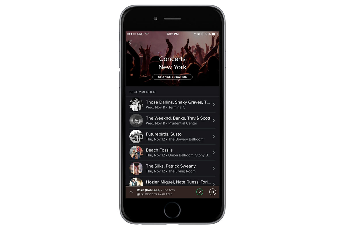 Spotify recommends concerts based on your listening habits