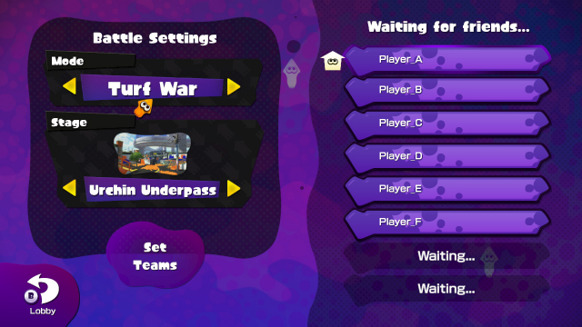 splatoon friend matchmaking The battle lobby is the online mode category selection screen of splatoon and  splatoon's main mode join friends  nintendo's matchmaking service will find a.