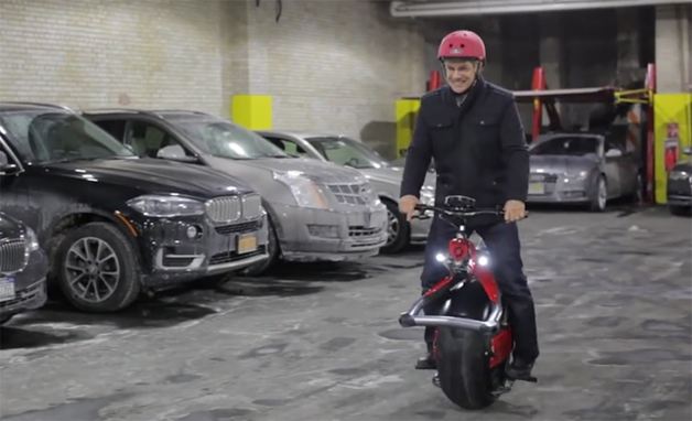 Ryno Motors founder Chris Hoffman rides a Ryno electric unicycle