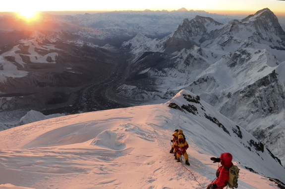 FILE - In this May 18, 2013 file photo released by mountain guide Adrian Ballinger of Alpenglow Expeditions, climbers make their way to the summit of Mount Everest, in the Khumbu region of the Nepal Himalayas. An avalanche swept down a climbing route on Mount Everest early Friday, April 18, killing at least 12 Nepalese guides and leaving three missing in the deadliest disaster on the world's highest peak. (AP Photo/Alpenglow Expeditions, Adrian Ballinger, File) MANDATORY CREDIT, EDITORIAL USE ONLY