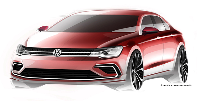 Rendering of a Volkswagen CC Coupe to be revealed at the 2014 Beijing Motor Show, front three-quarter view