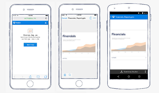 Open shared Dropbox links inside the app and organize with ease