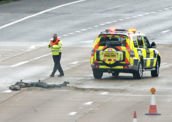 The M25 'collapses' in the rain causing traffic chaos