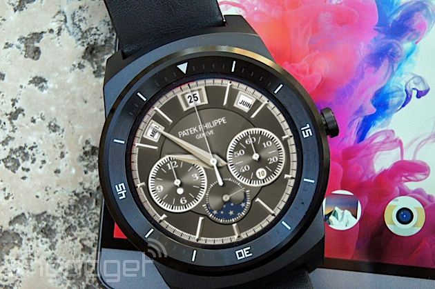 A mock Patek Philippe watch face on an LG G Watch R