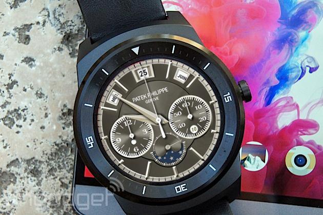 A mock Patek Philippe watch face on an LG G Watch R