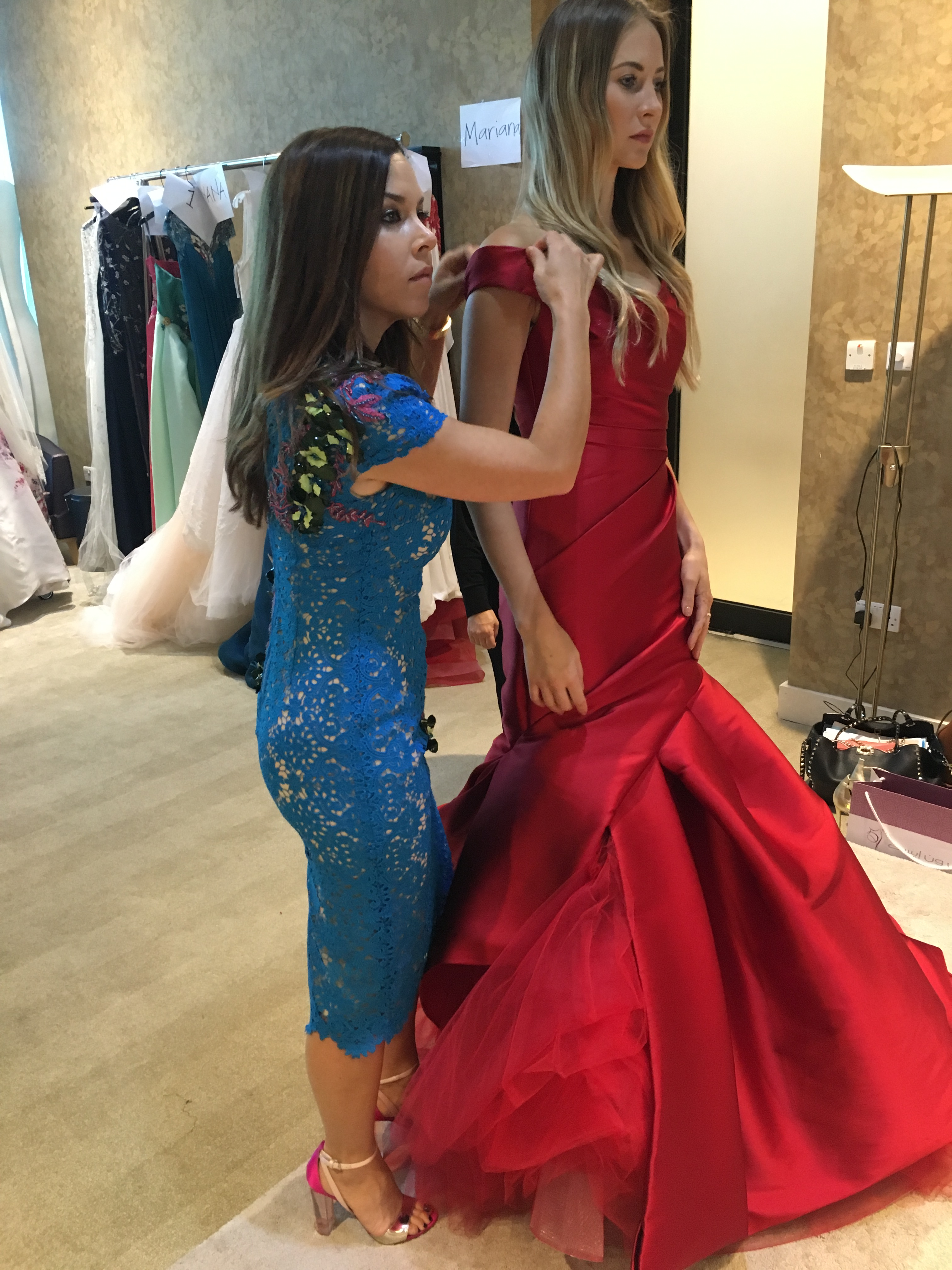 Monique Lhuillier travel diary: behind the scenes fitting before the show