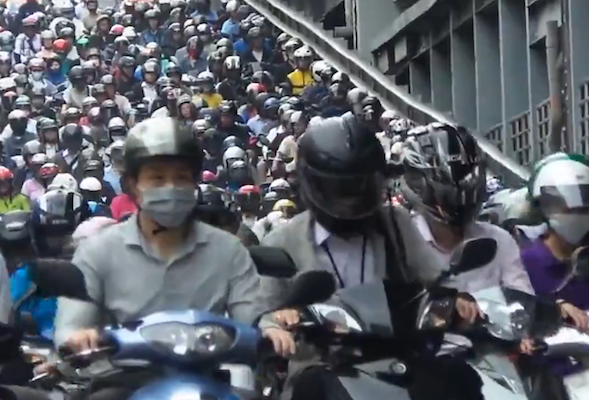 scooter traffic jam