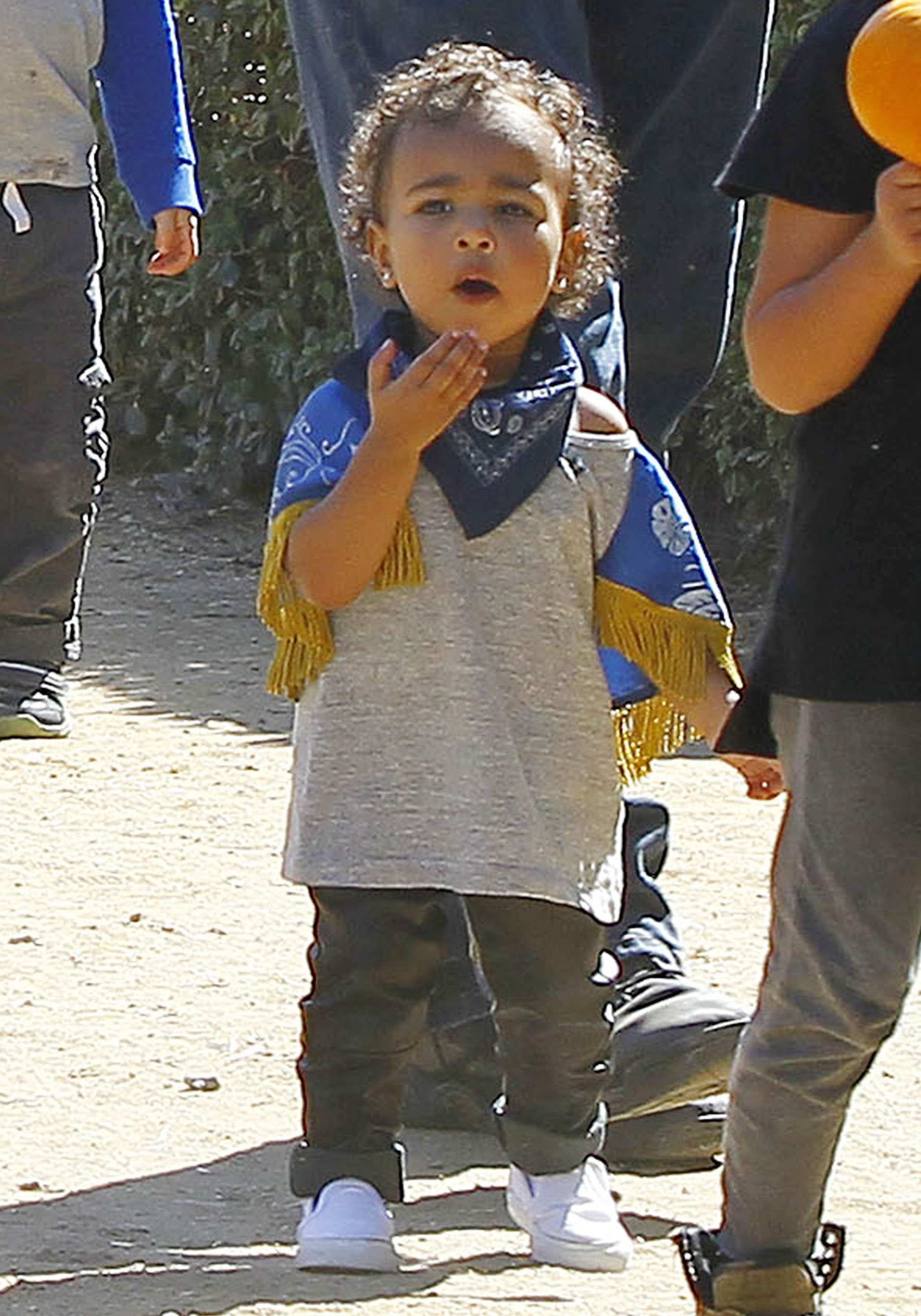 51561694 Kim Kardashian, her husband Kanye West, and their daughter North along with Kris Jenner, a pregnant Kourtney Kardashian, and her kids Mason and Penelope have a family day at Underwood Family Farms in Moorpark, California on October 18, 2014. FameFlynet, Inc - Beverly Hills, CA, USA - +1 (818) 307-4813